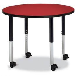 "Wholesale Berries Round Activity Table - 36"" Diameter, Mobile - Red/black/black"