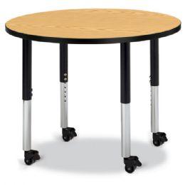 "Wholesale Berries Round Activity Table - 36"" Diameter, Mobile - Oak/black/black"