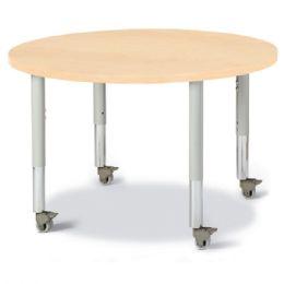 "Wholesale Berries Round Activity Table - 36"" Diameter, Mobile - Maple/maple/gray"