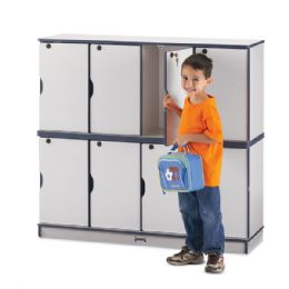 Wholesale Rainbow Accents Stacking Lockable Lockers - Double Stack - Navy