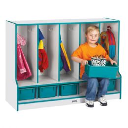 Wholesale Rainbow Accents Toddler 5 Section Coat Locker With Step - With Trays - Green