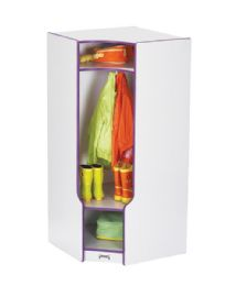 Wholesale Rainbow Accents Corner Coat Locker With Step - Red