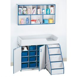 Rainbow Accents Diaper Changer With Stairs - Right - Navy - Toddlers Infants
