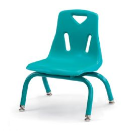 """Berries Stacking Chairs With PowdeR-Coated Legs - 8"""" Ht - Set Of 6 - Teal - Seating"""