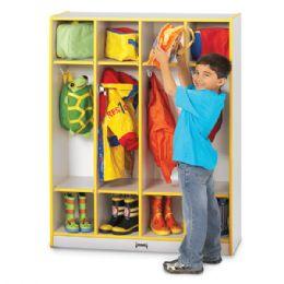 Wholesale Rainbow Accents 4 Section Coat Locker - Black
