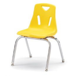 """Wholesale Berries Stacking Chairs With ChromE-Plated Legs - 16"""" Ht - Set Of 6 - Yellow"""