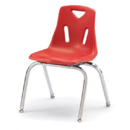 """Wholesale Berries Stacking Chairs With ChromE-Plated Legs - 16"""" Ht - Set Of 6 - Red"""