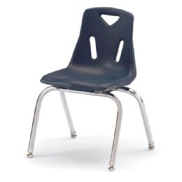 """Wholesale Berries Stacking Chairs With ChromE-Plated Legs - 16"""" Ht - Set Of 6 - Navy"""
