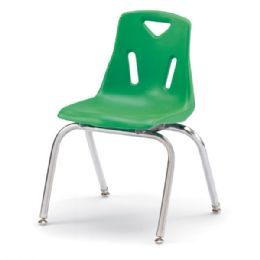 """Wholesale Berries Stacking Chairs With ChromE-Plated Legs - 16"""" Ht - Set Of 6 - Green"""