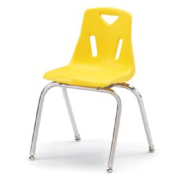"""Wholesale Berries Stacking Chair With ChromE-Plated Legs - 18"""" Ht - Yellow"""