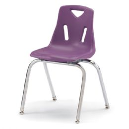 """Wholesale Berries Stacking Chairs With ChromE-Plated Legs - 18"""" Ht - Set Of 6 - Purple"""