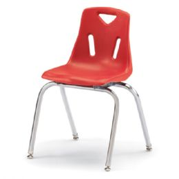 """Wholesale Berries Stacking Chairs With ChromE-Plated Legs - 18"""" Ht - Set Of 6 - Red"""