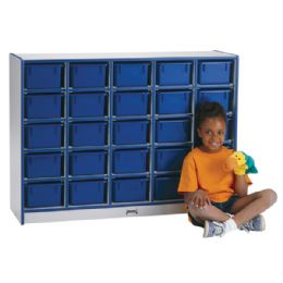 Wholesale Rainbow Accents 25 CubbiE-Tray Mobile Storage - With Trays - Blue