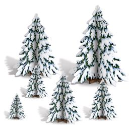 12 of 3-D Winter Pine Tree Centerpieces Assembly Required