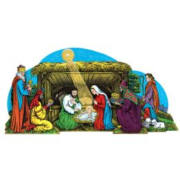 12 of Vntg Xmas Gltrd Nativity Scenetable Dec W/selF-Locking Easel; Assembly Required