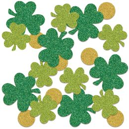 12 Units of Shamrock & Coin Deluxe Sparkle Confetti Gold, Green, Lt Green - Streamers & Confetti