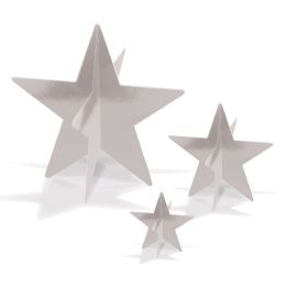 12 of 3-D Foil Star Centerpieces Silver; Assembly Required; 1-3 , 1-5.5 , 1-8