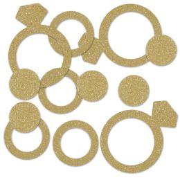 12 Units of Diamond Ring Deluxe Sparkle Confetti Gold - Streamers & Confetti