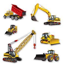 12 Units of Construction Equipment Cutouts Prtd 2 Sides - Streamers & Confetti