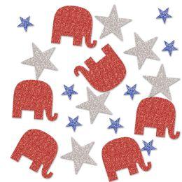12 Units of Republican Deluxe Sparkle Confetti Red, Silver, Blue - Streamers & Confetti