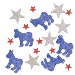 12 Units of Democratic Deluxe Sparkle Confetti Red, Silver, Blue - Streamers & Confetti