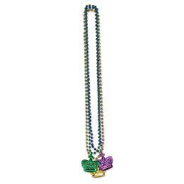 12 Wholesale Beads W/crown Medallion Asstd Gold, Green, Purple