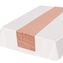 12 Wholesale Sequined Table Runner Rose Gold
