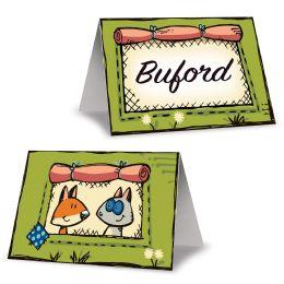 12 Wholesale Woodland Friends Place Cards Prtd Front & Back