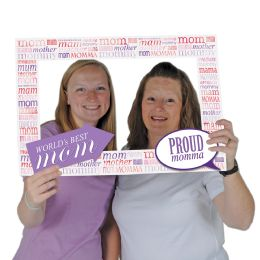 12 Wholesale Mother's Day Photo Fun Frame Prtd 2 Sides W/different Designs; 2 Hand Held Props Included