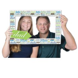 12 Wholesale Father's Day Photo Fun Frame Prtd 2 Sides W/different Designs; 2 Hand Held Props Included
