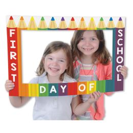 12 Wholesale School Days Photo Fun Frame Prtd 2 Sides W/different Designs; 3 Hand Held Props Included