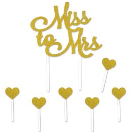 12 Wholesale Miss To Mrs Cake Topper 6-1.25  X 3.25  Heart Picks Included