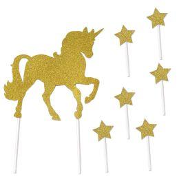 12 Wholesale Unicorn Cake Topper 6-1.5  X 3.5  Star Picks Included