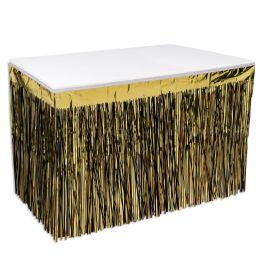 6 Wholesale Pkgd 2-Ply Metallic Table Skirting Black & Gold