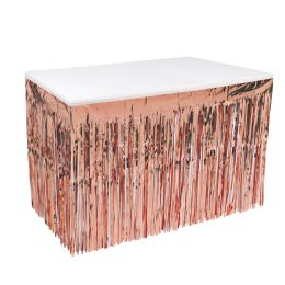 6 Wholesale Pkgd 1-Ply Metallic Table Skirting Rose Gold