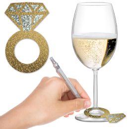 12 Wholesale Diamond Ring Wine Glass Markers Glitter Print