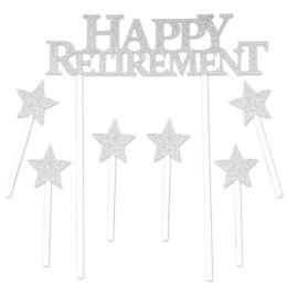 12 Wholesale Happy Retirement Cake Topper 6-1.25  X 3.25  Star Picks Included