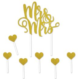 12 Wholesale Mr & Mrs Cake Topper 6-1.25  X 3.25  Heart Picks Included