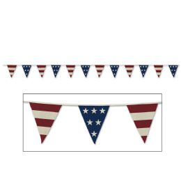 12 Wholesale Americana Fabric Pennant Banner 12 Pennants/string