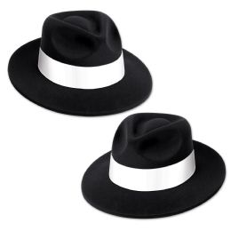 25 Units of Black Velour Fedora W/band PlastiC-Backed Velour W/white Printed Band; One Size Fits Most - Party Hats & Tiara