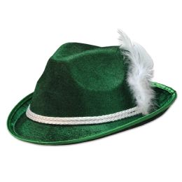 12 Units of Forest Green VeL-Felt Alpine One Size Fits Most - Party Hats & Tiara