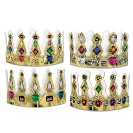 12 Units of Pkgd Printed Jeweled Crowns Asstd Designs; Adjustable - Party Hats & Tiara