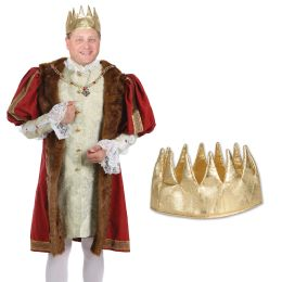 12 Units of Fabric Gold Crown One Size Fits Most - Party Hats & Tiara