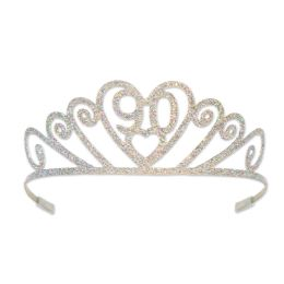 6 Units of Glittered Metal  90  Tiara Silica Gel Tubes On Ends For Comfort - Party Hats & Tiara