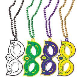 12 Wholesale Mardi Gras Masks W/beads Asstd Colors