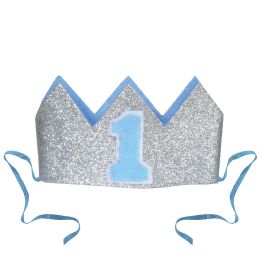 12 Units of Glittered Baby's 1st Birthday Crown Detachable Ribbon Ties - Party Hats & Tiara