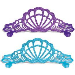 12 Units of Glittered Mermaid Tiaras Ribbon Ties - Party Hats & Tiara