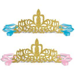 12 Units of Glittered Princess Tiaras Ribbon Ties - Party Hats & Tiara