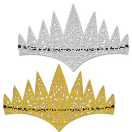 12 Units of Glittered Laser Cut Tiaras Elastic Attached - Party Hats & Tiara