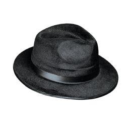12 Units of VeL-Felt Fedora Black; One Size Fits Most - Party Hats & Tiara